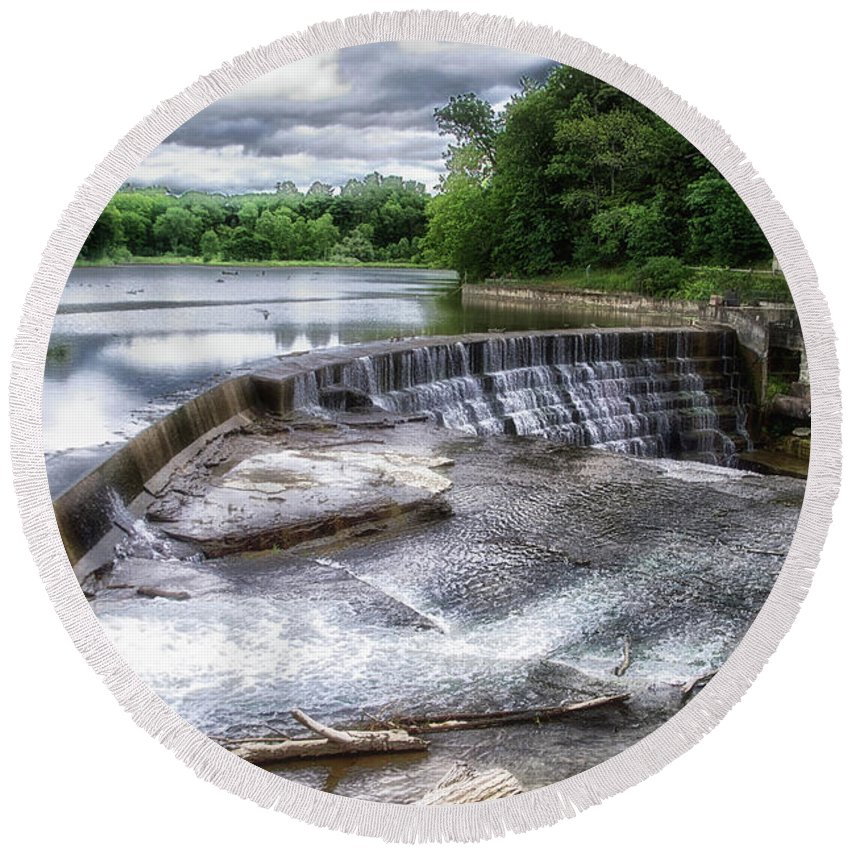 Cornell University Round Beach Towel featuring the photograph Waterfalls Cornell University Ithaca New York 07 by Thomas Woolworth
