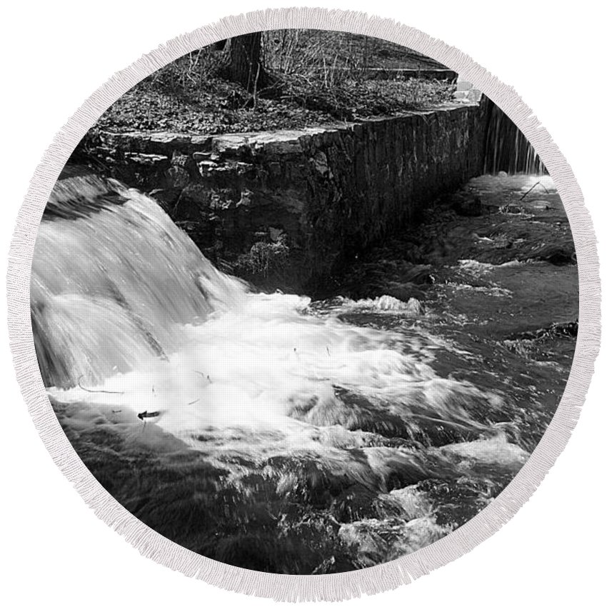 Water Round Beach Towel featuring the photograph Waterfalls by Jean Macaluso