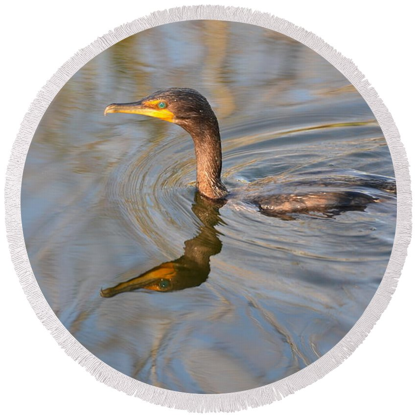 Waterfowl Round Beach Towel featuring the photograph Waterfowl by Tammy Mutka