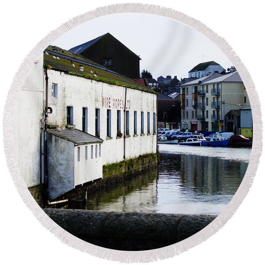 River Round Beach Towel featuring the photograph Waterfront Factory by Tim Nyberg