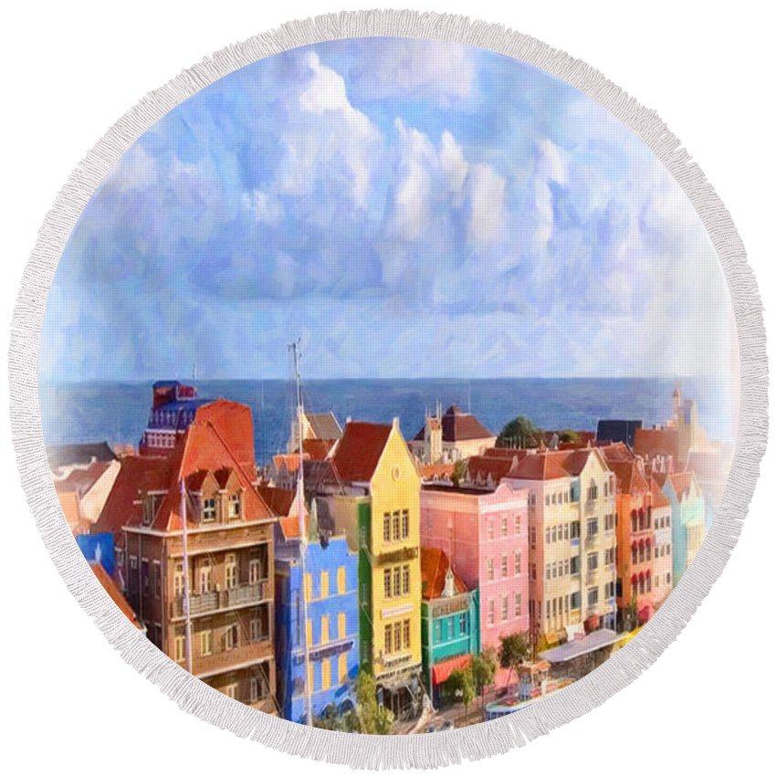 Summer Round Beach Towel featuring the painting Waterfront Houses by Jeelan Clark