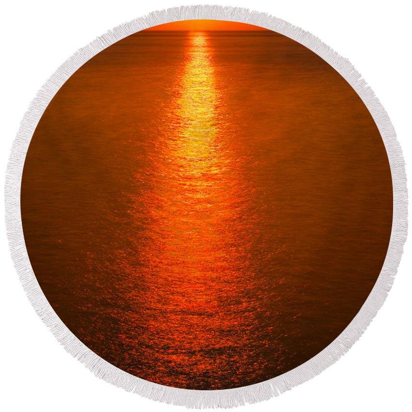 Lake Round Beach Towel featuring the photograph Waterfront Sunrise by Steve Gadomski