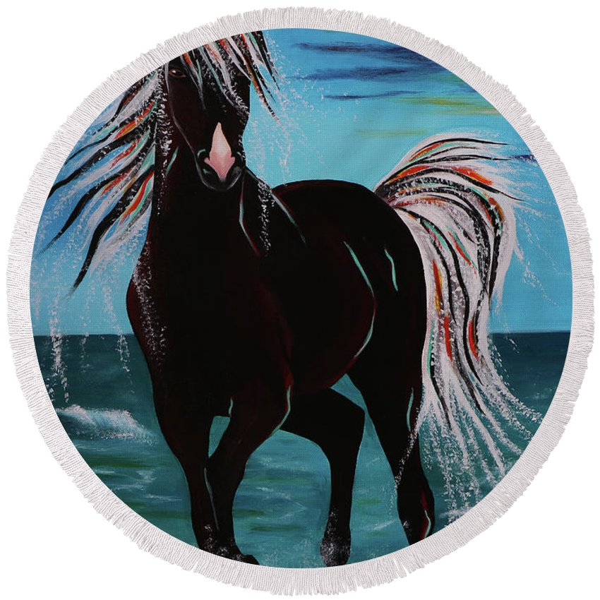 Horse Round Beach Towel featuring the painting Waterhorse by Nicole Paquette