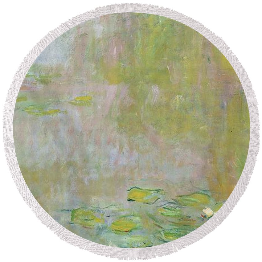 Waterlilies At Giverny Round Beach Towel featuring the painting Waterlilies at Giverny by Claude Monet