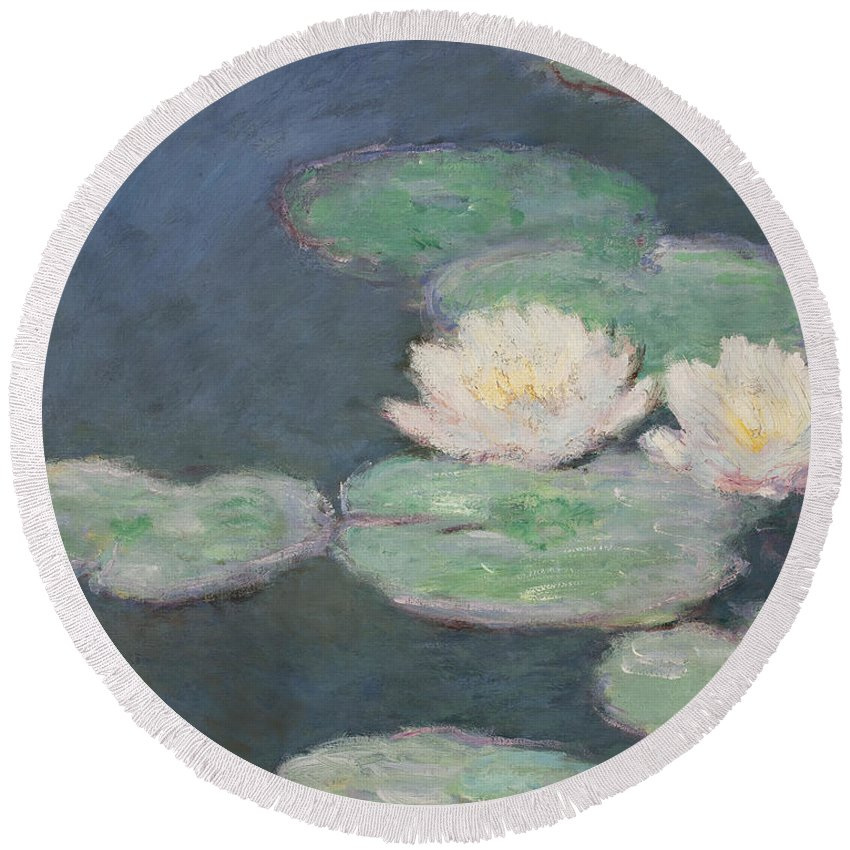 Waterlilies Round Beach Towel featuring the painting Waterlilies by Claude Monet