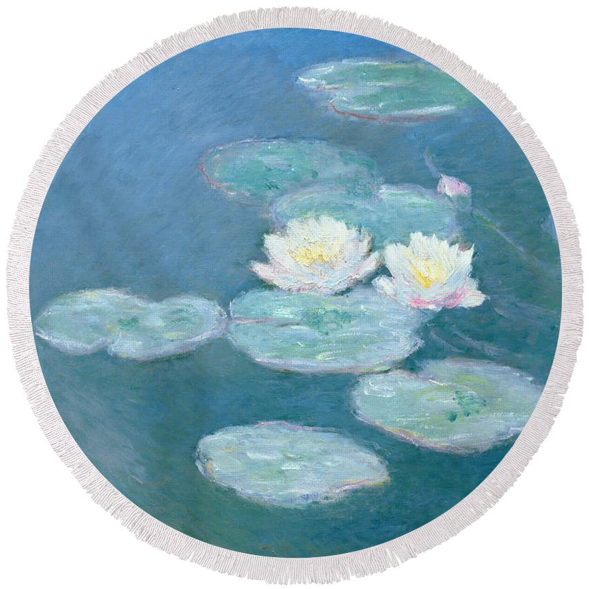 Waterlilies Round Beach Towel featuring the painting Waterlilies Evening by Claude Monet