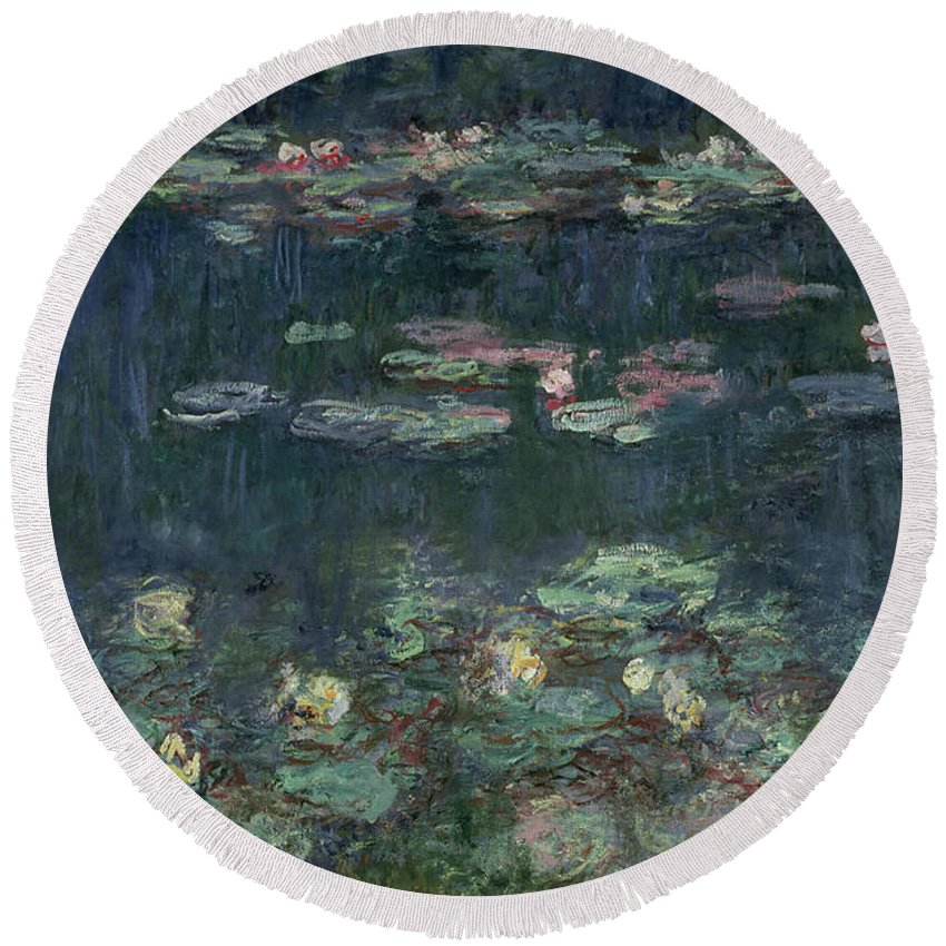 Monet Round Beach Towel featuring the painting Waterlilies Green Reflections by Claude Monet
