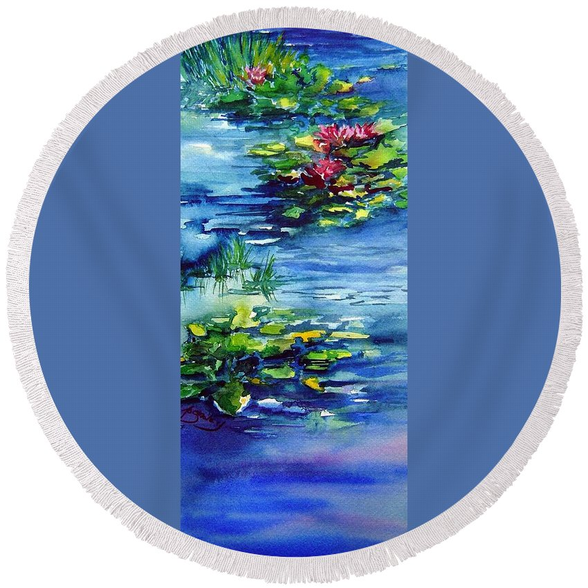 Waterlilies Round Beach Towel featuring the painting Waterlilies by Joanne Smoley