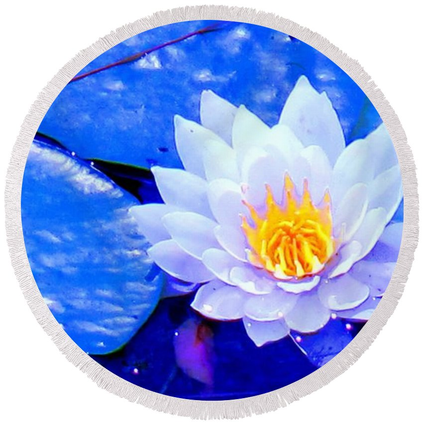 Waterlilly Round Beach Towel featuring the photograph Blue Water Lily by Ian MacDonald