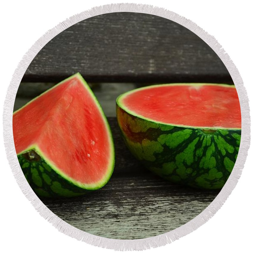 Melon Round Beach Towel featuring the photograph Watermelon by FL collection