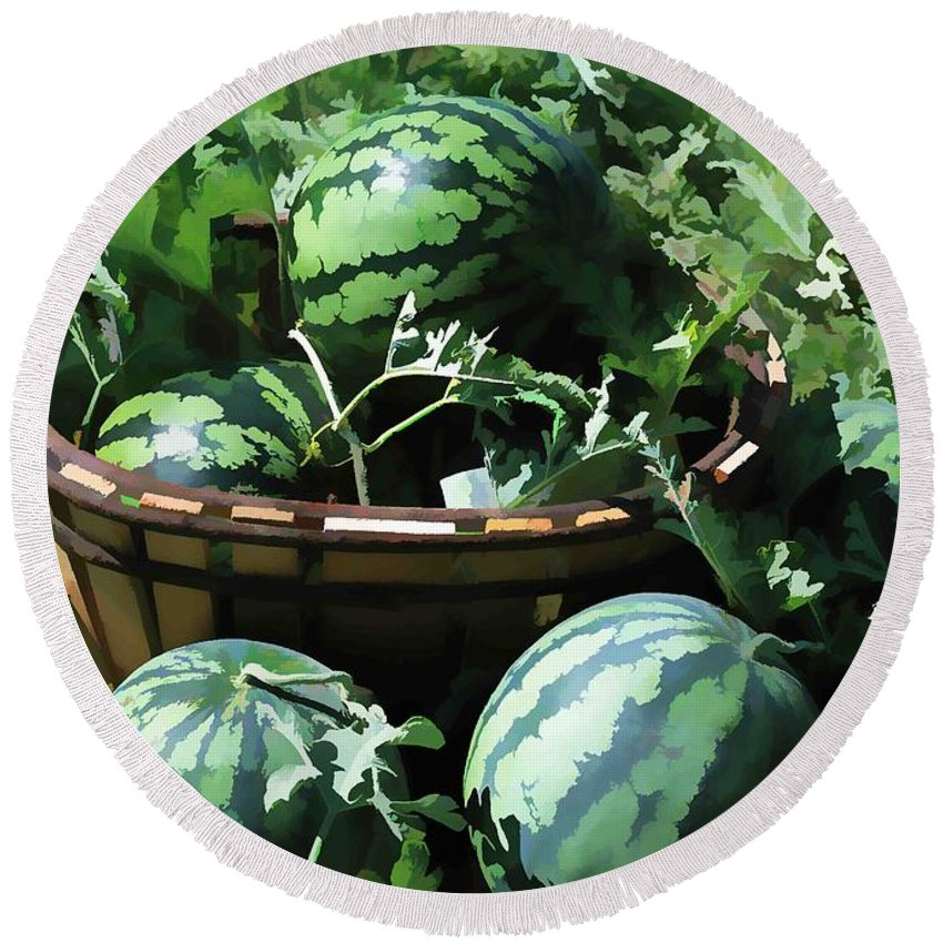 Watermelon Round Beach Towel featuring the painting Watermelon In A Vegetable Garden by Jeelan Clark
