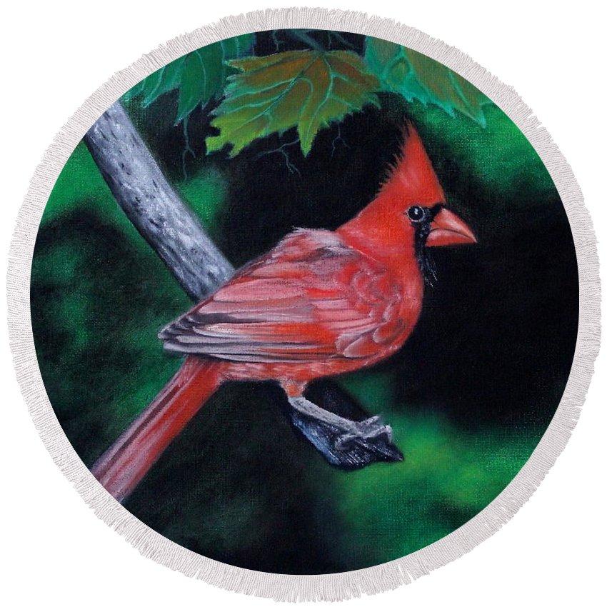 Cardinal Round Beach Towel featuring the painting Watermelon by Jose Corona