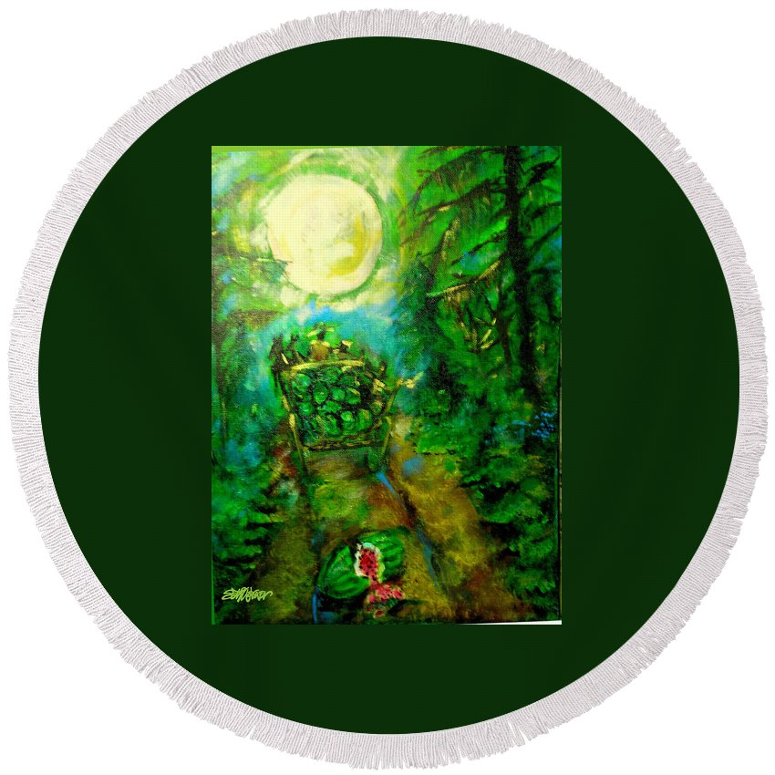 Watermelon Wagon Moon Round Beach Towel featuring the painting Watermelon Wagon Moon by Seth Weaver