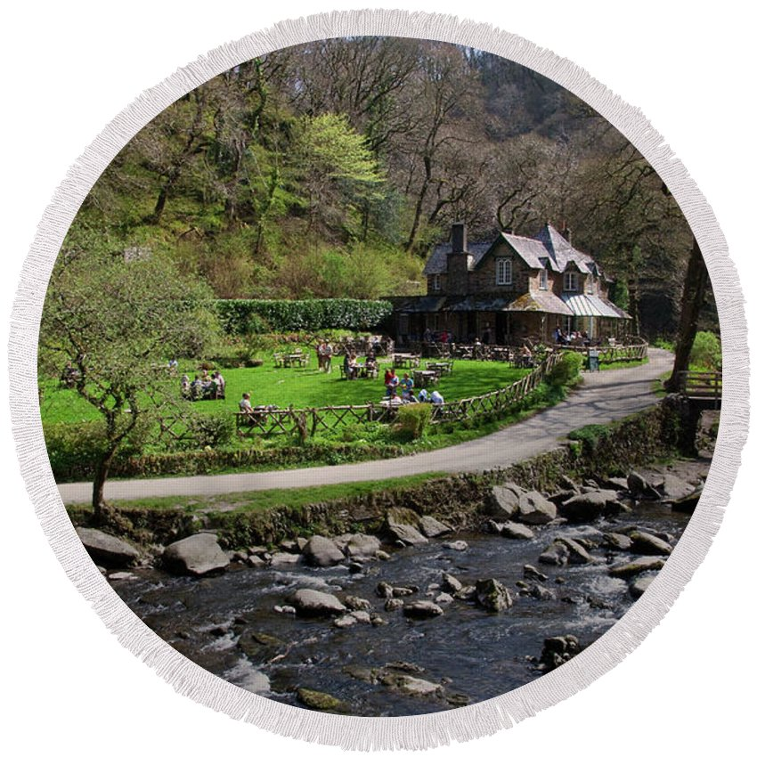 Watersmeet Round Beach Towel featuring the photograph Watersmeet by Rob Hawkins