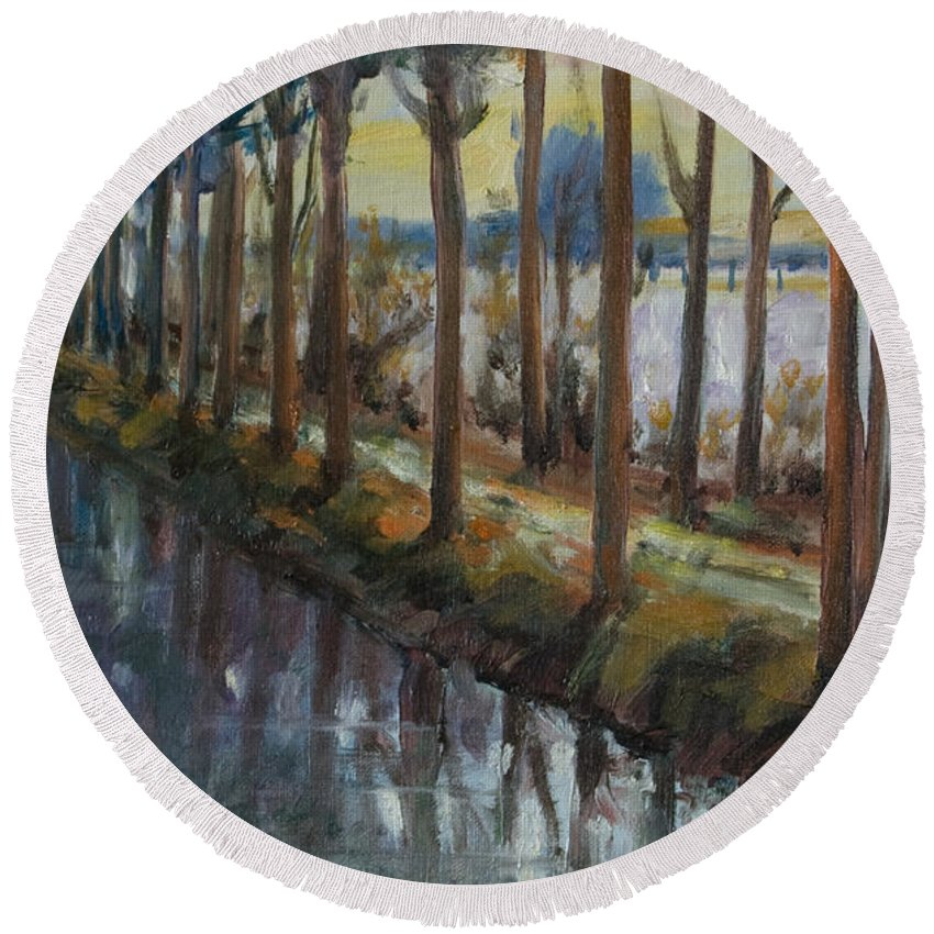 Trees Round Beach Towel featuring the painting Waterway by Rick Nederlof