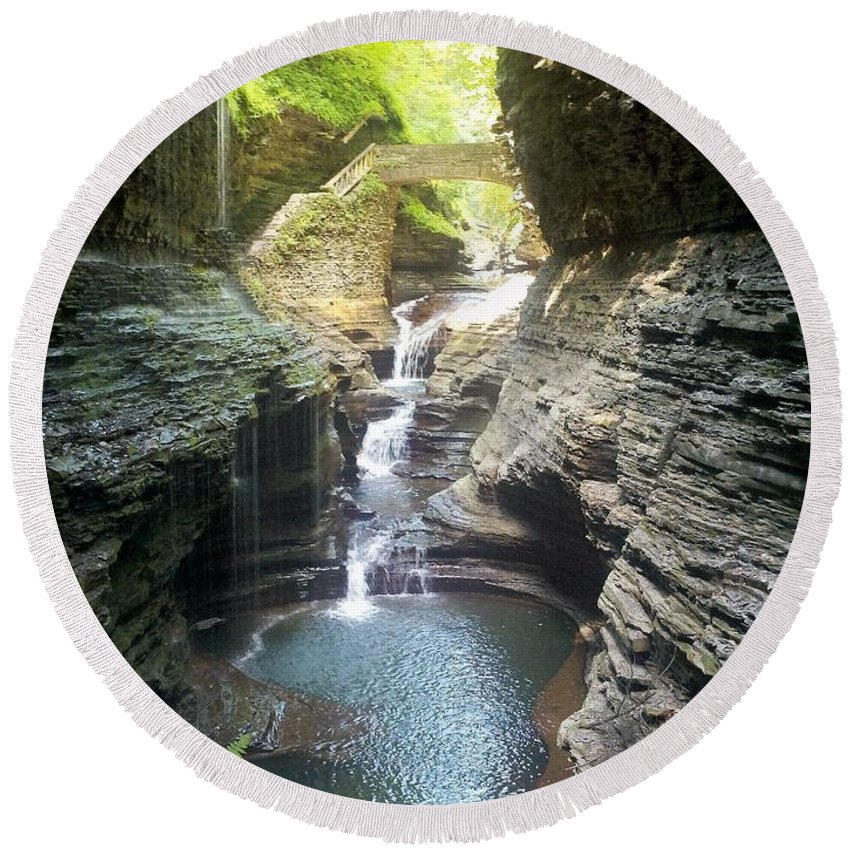 Landscape Round Beach Towel featuring the photograph Watkins Glen State Park by Julia Breheny