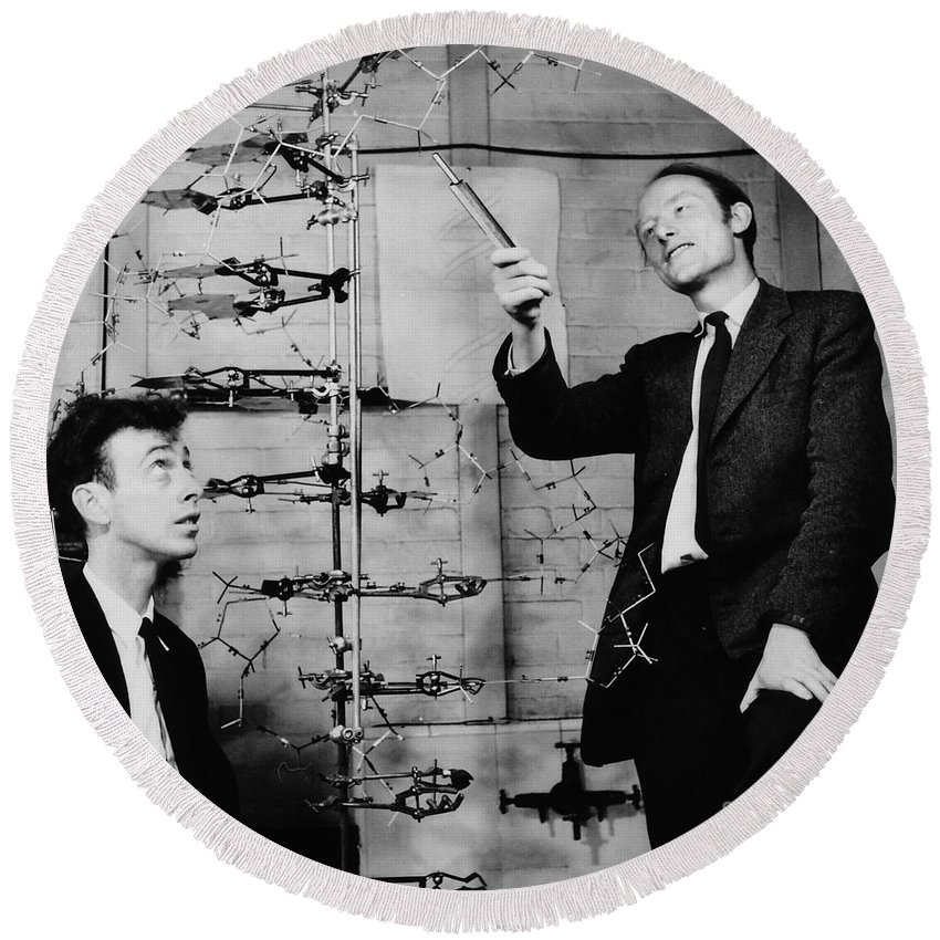 Watson Round Beach Towel featuring the photograph Watson And Crick by A Barrington Brown and Photo Researchers