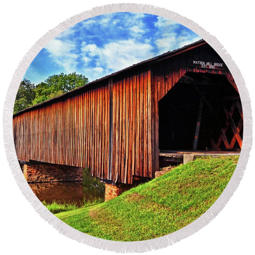 Covered Bridge Round Beach Towel featuring the photograph Watson Mill Covered Bridge 040 by George Bostian