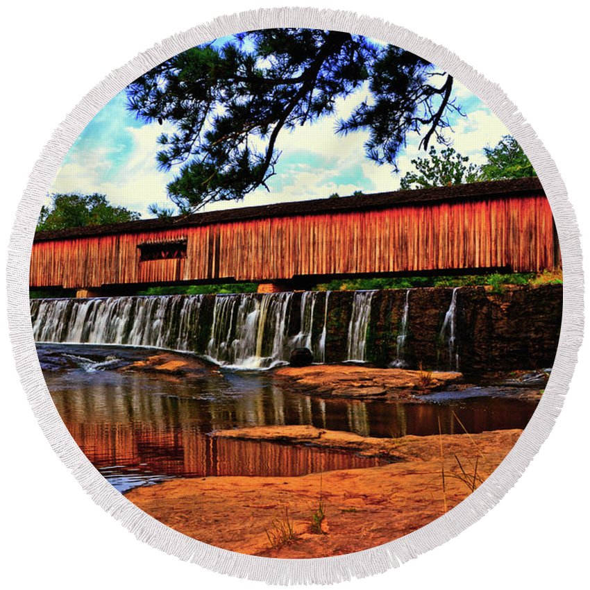 Waterfall Round Beach Towel featuring the photograph Watson Mill Covered Bridge 042 by George Bostian