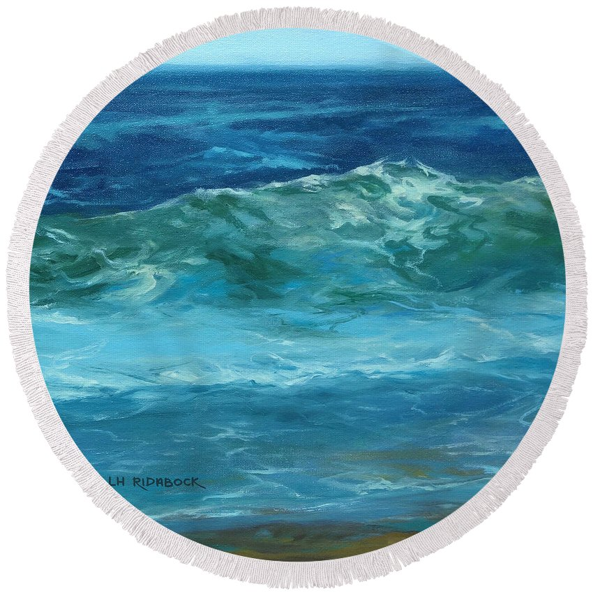Lisa H Ridabock Round Beach Towel featuring the painting Wave Action Detail by Lisa H Ridabock