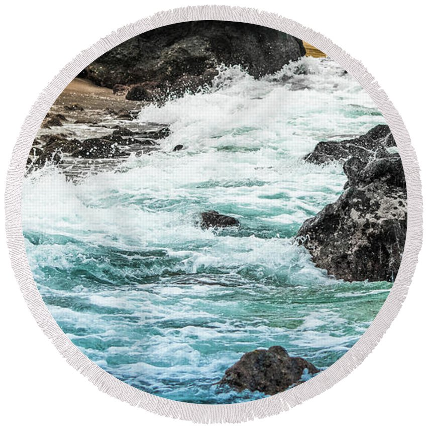 Wave Round Beach Towel featuring the photograph Wave Action by Joy McAdams