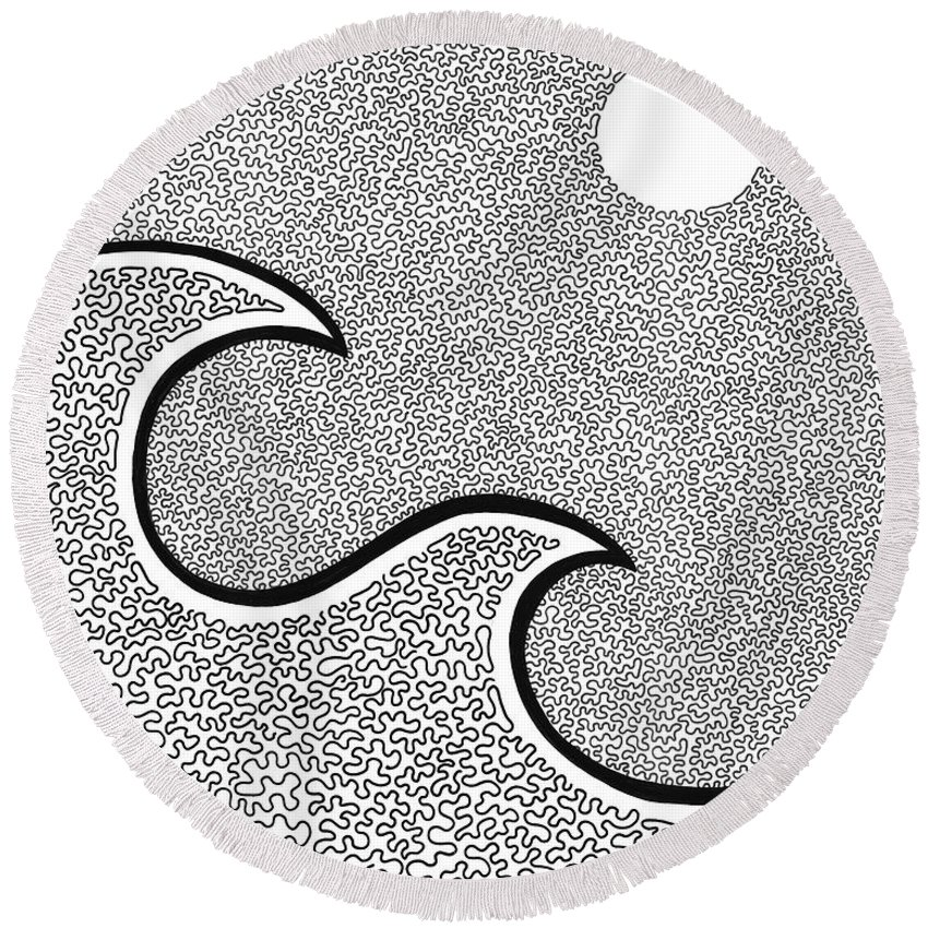 Black And White Round Beach Towel featuring the drawing Wave And The Moon by A Mad Doodler