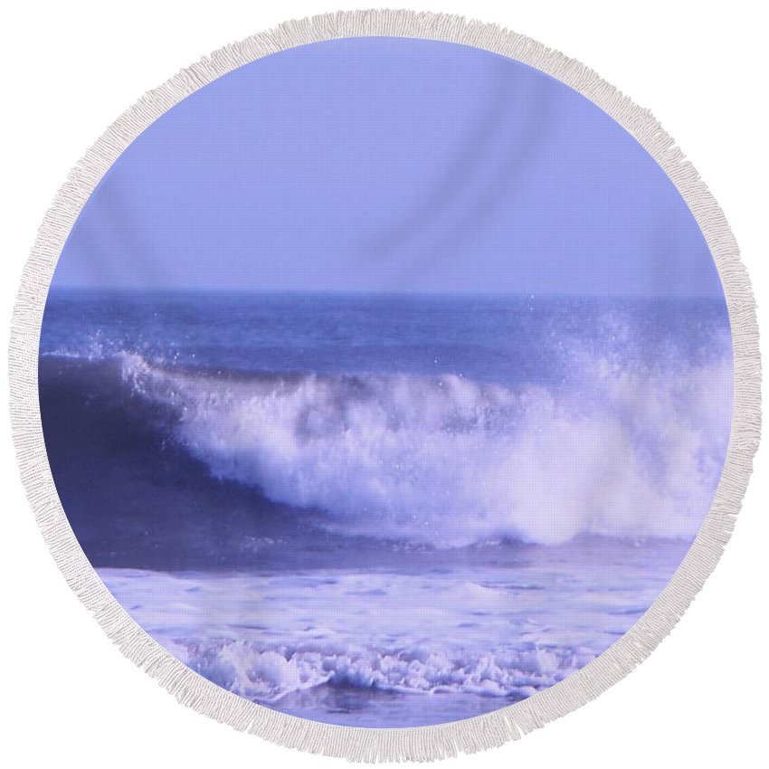 Wave Round Beach Towel featuring the photograph Wave At Jersey Shore by Eric Schiabor