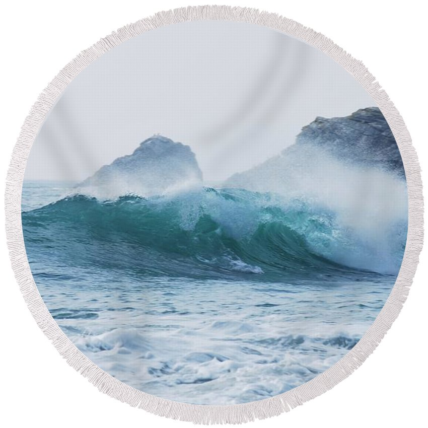 Wave Round Beach Towel featuring the photograph Wave by FL collection
