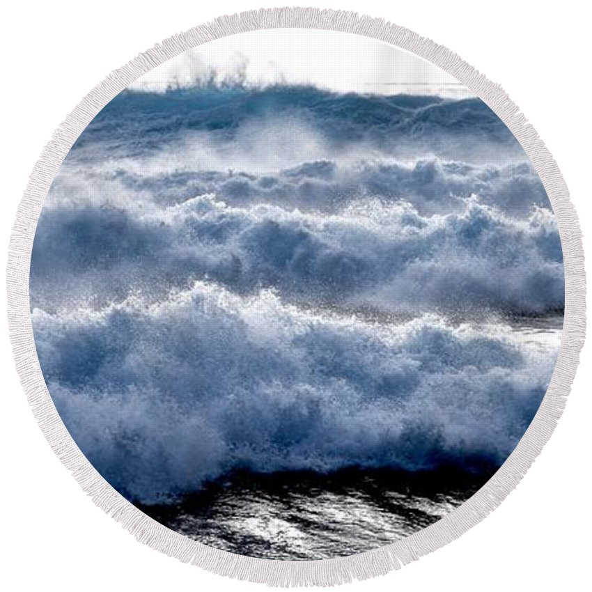 Stormy Waves Round Beach Towel featuring the photograph Wave Upon Wave Upon Wave by Debra Banks