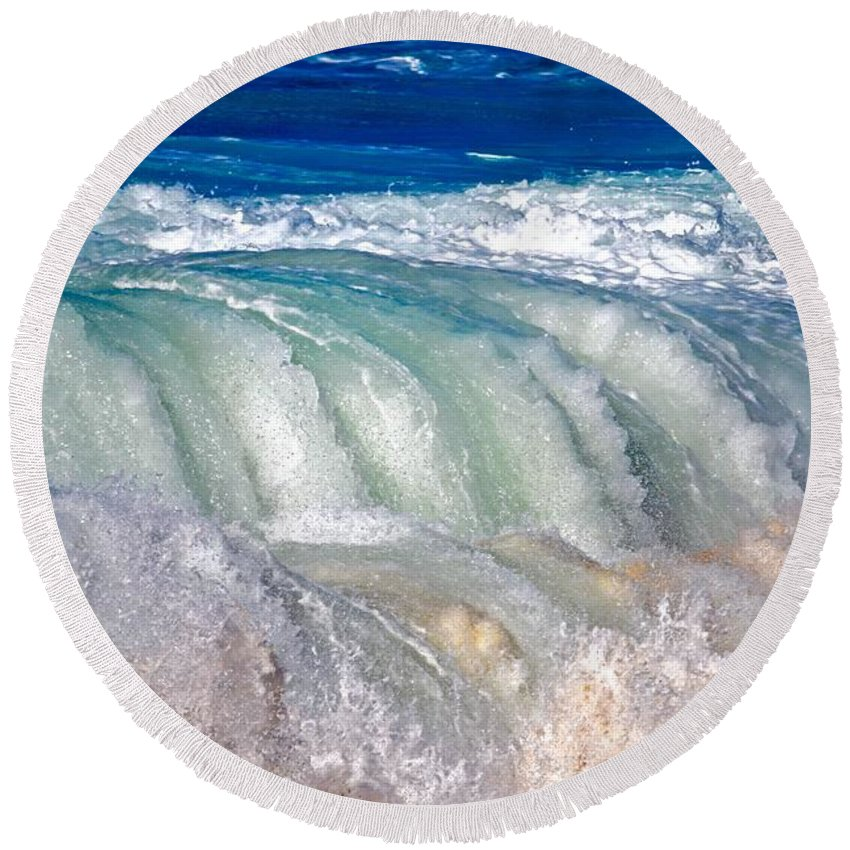 Waves Round Beach Towel featuring the photograph Wave Waterfall, Sunset Beach, Hawai'i by Debra Banks