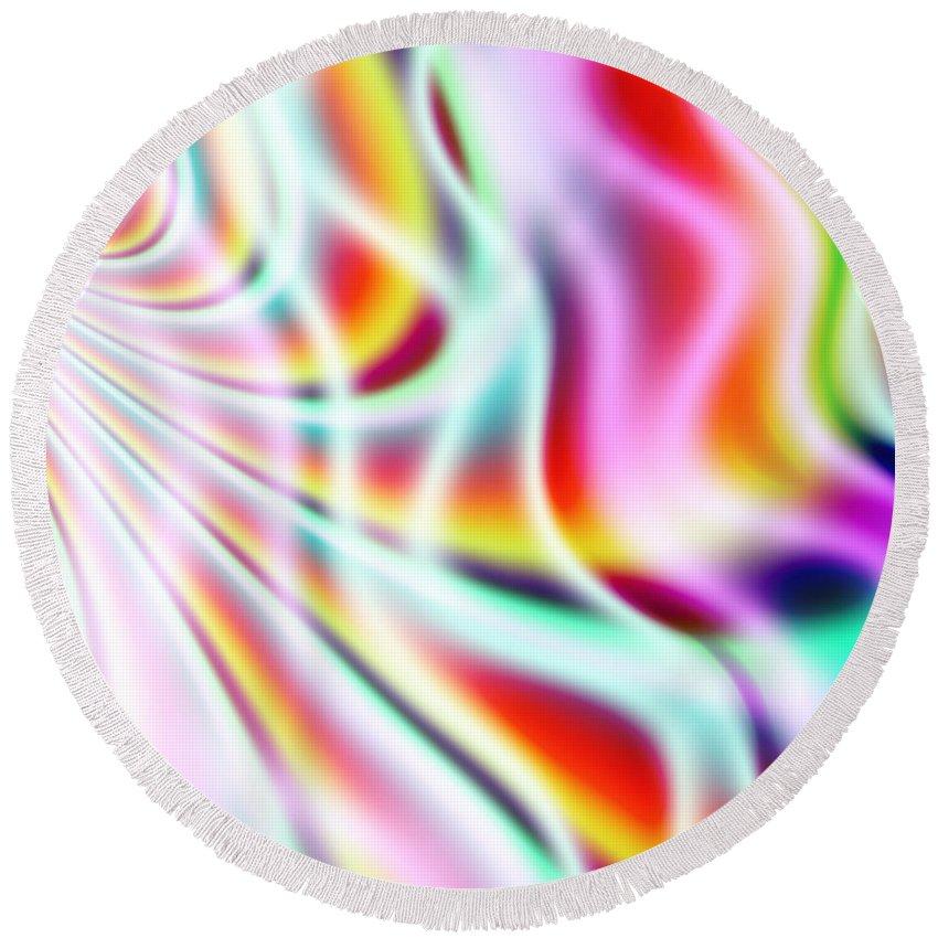 Art Round Beach Towel featuring the digital art Wavelengths by Candice Danielle Hughes