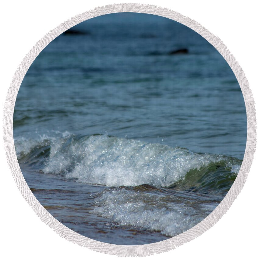 Waves Round Beach Towel featuring the photograph Waves by ChelleAnne Paradis