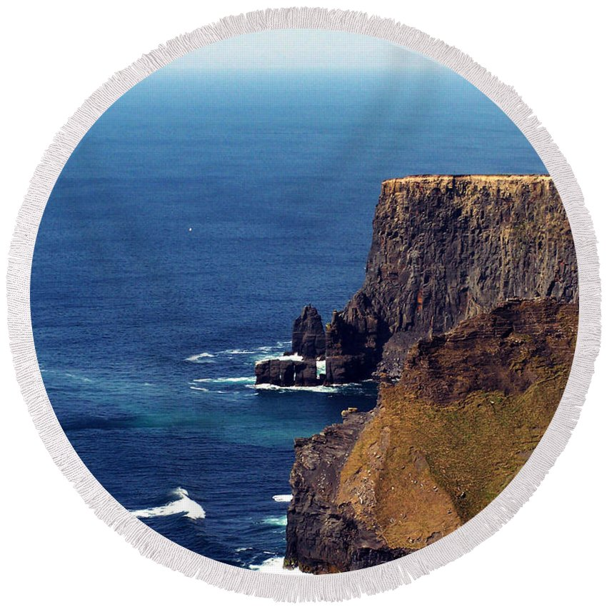 Irish Round Beach Towel featuring the photograph Waves Crashing At Cliffs Of Moher Ireland by Teresa Mucha