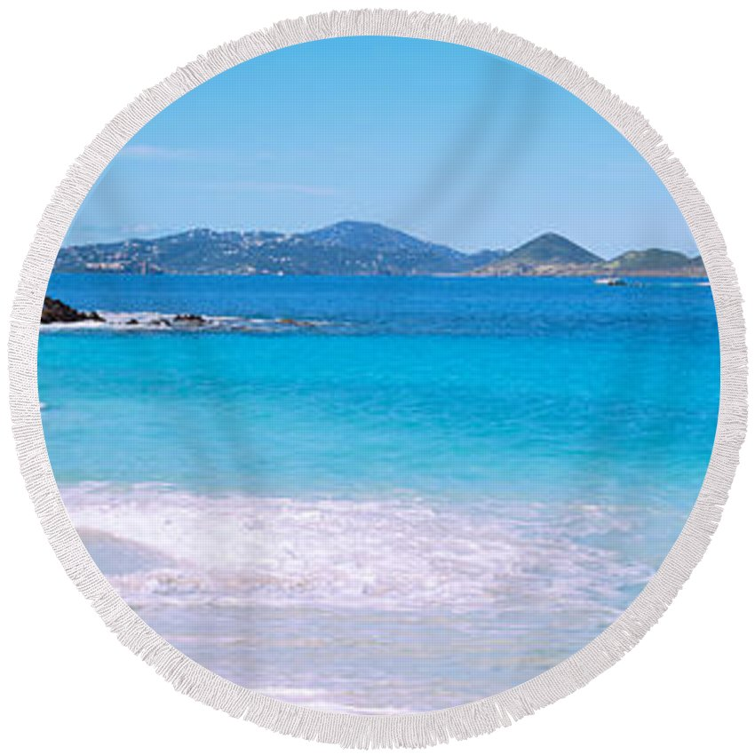 Photography Round Beach Towel featuring the photograph Waves Crashing On The Beach, Turtle by Panoramic Images
