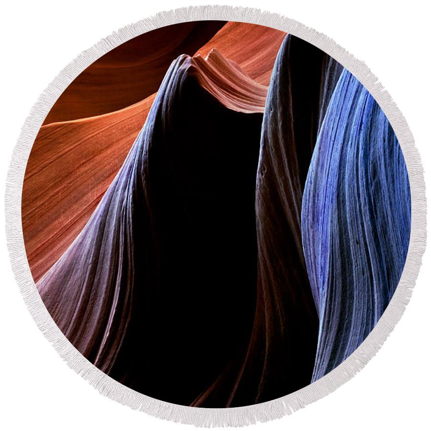 Sandstone Round Beach Towel featuring the photograph Waves by Mike Dawson