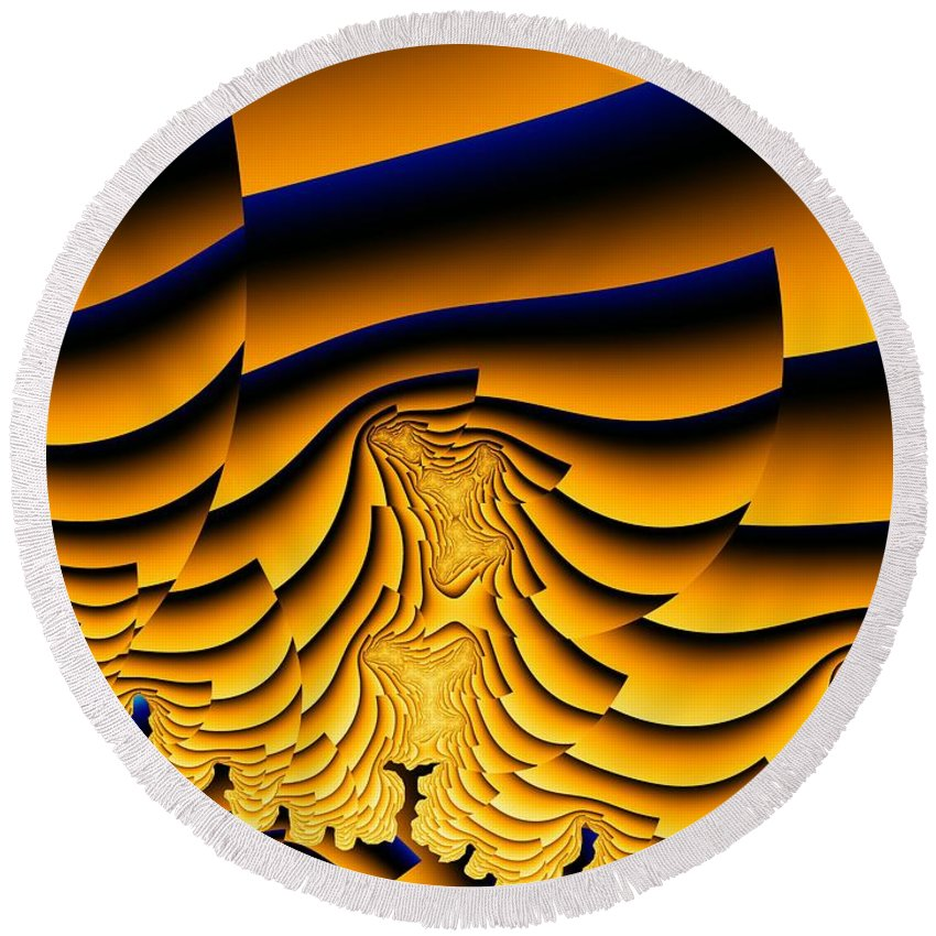Fractal Image Round Beach Towel featuring the digital art Waves Of Grain by Ron Bissett