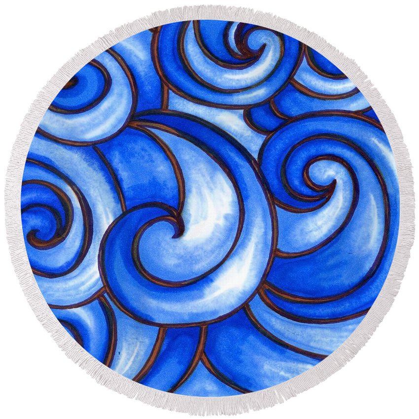 Water Round Beach Towel featuring the painting Waves of Mercy by Vonda Drees