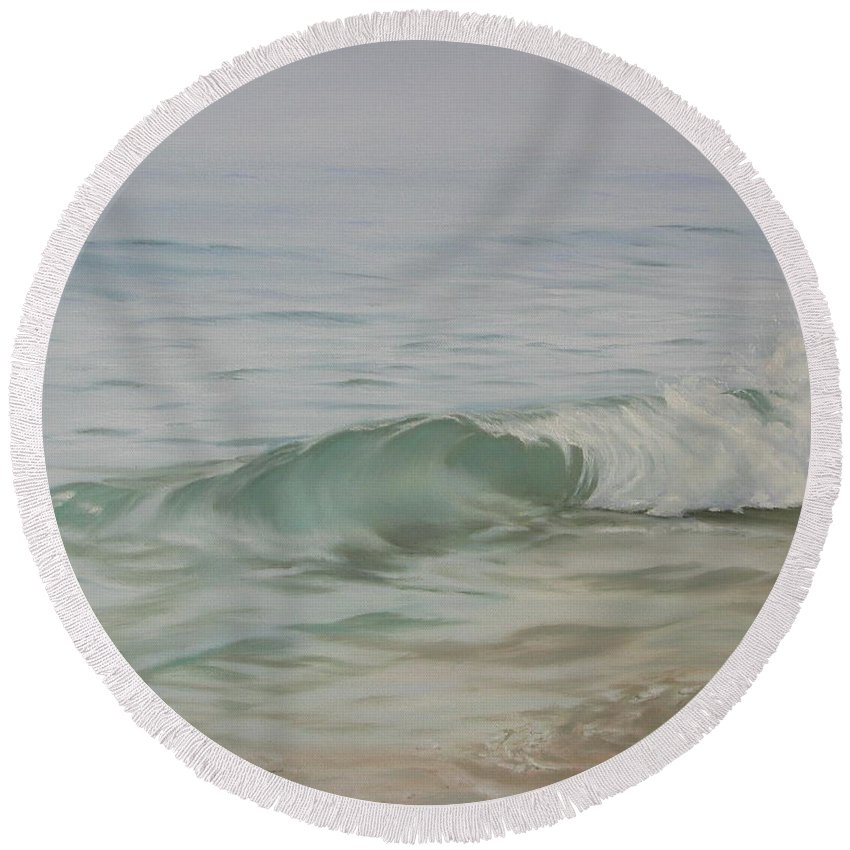 Seascape Round Beach Towel featuring the painting Waves Out Of The Fog by Lea Novak