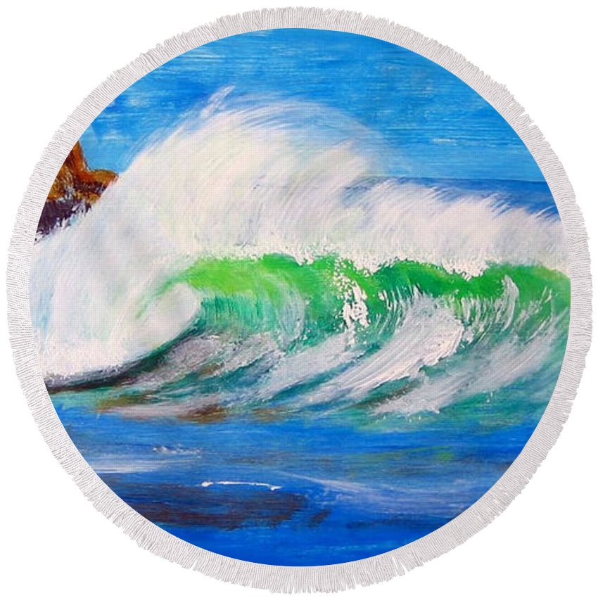 Waves Round Beach Towel featuring the painting Waves by Richard Le Page