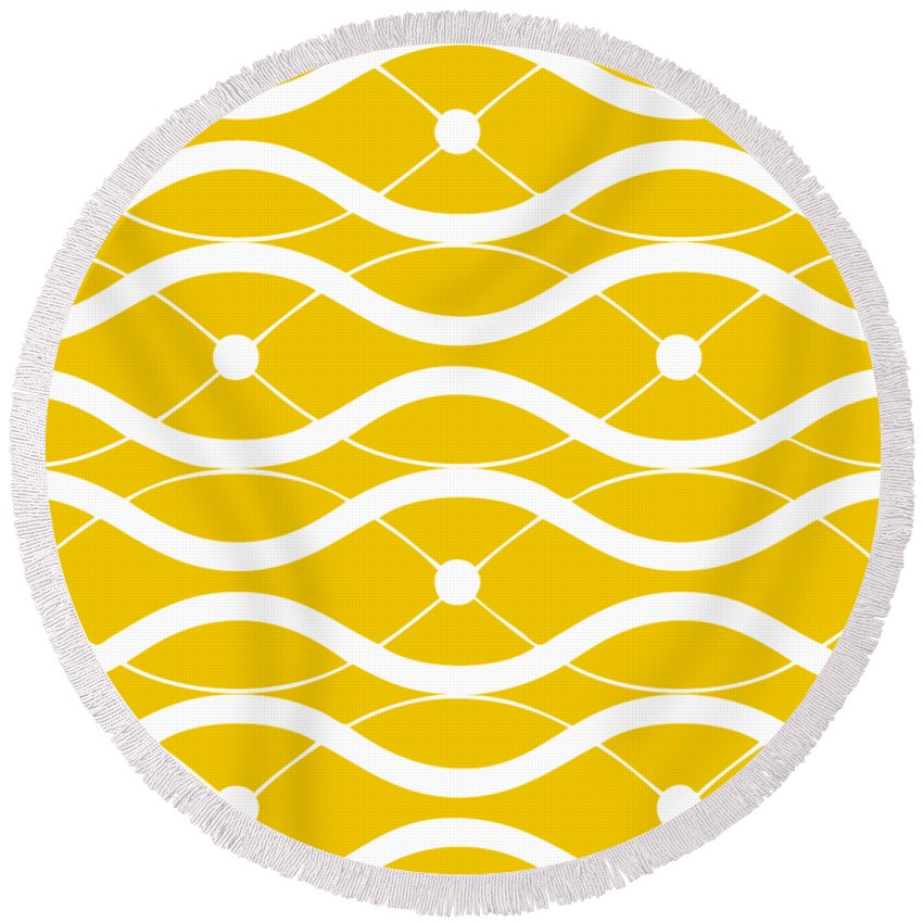 Waves Round Beach Towel featuring the digital art Waves With Border In Mustard by Custom Home Fashions