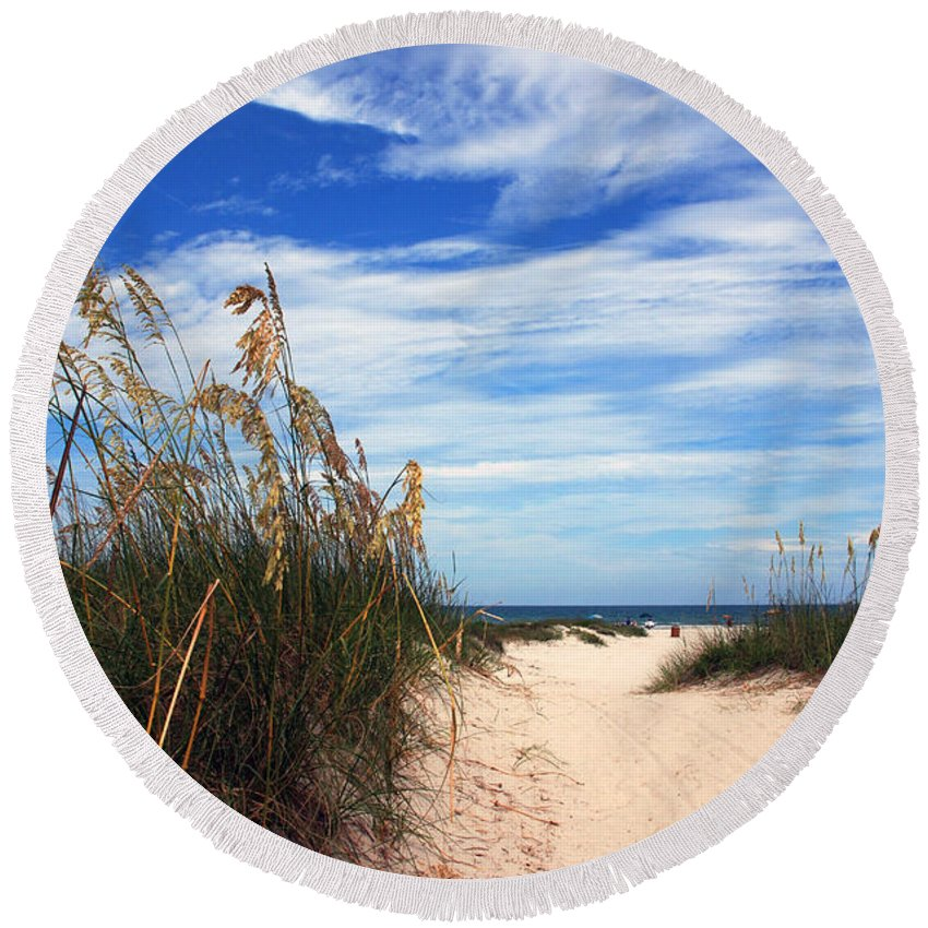 Beach Round Beach Towel featuring the photograph Way Out To The Beach by Susanne Van Hulst