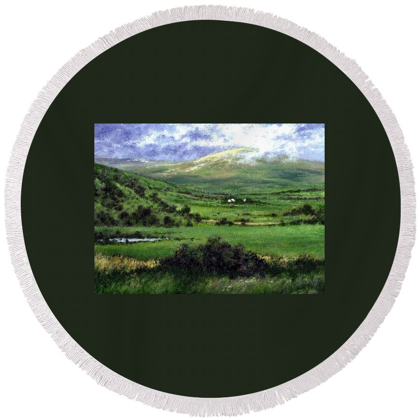 Landcape Round Beach Towel featuring the painting Way to Ardara Ireland by Jim Gola