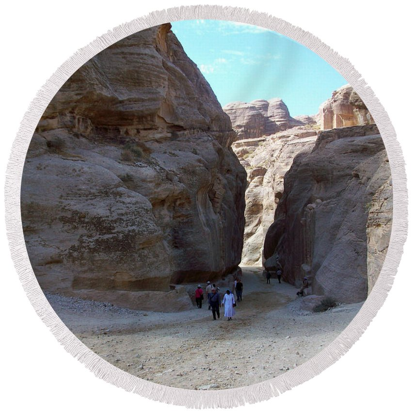 Petra Round Beach Towel featuring the photograph Way To Petra by Munir Alawi