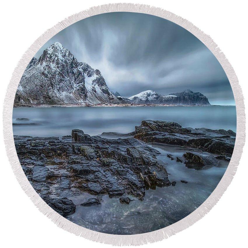 Lofoten Round Beach Towel featuring the digital art Way To Silent by Feliksas Ostapenko