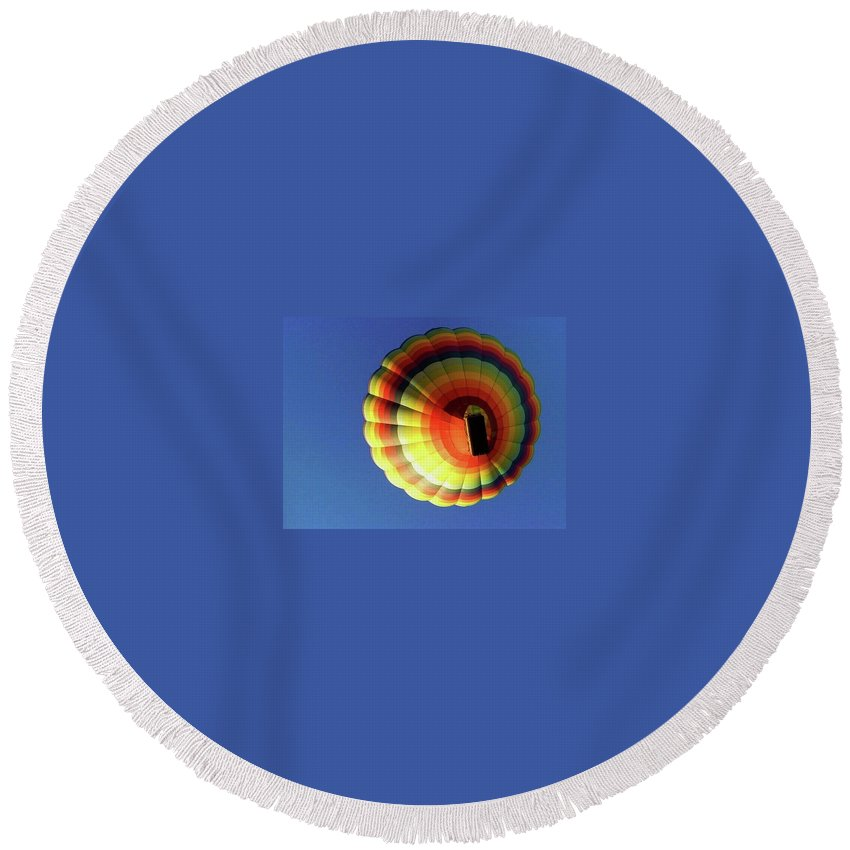 Balloon Round Beach Towel featuring the photograph Way Up In The Air by Marla McFall