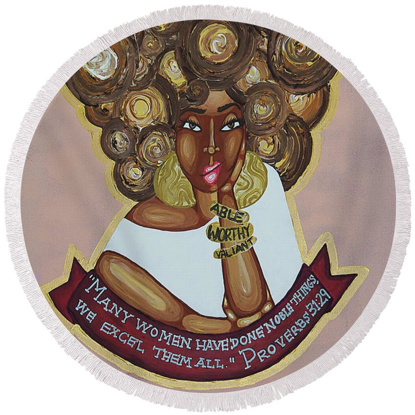 Aliya Michelle Round Beach Towel featuring the painting We Excel Them All by Aliya Michelle