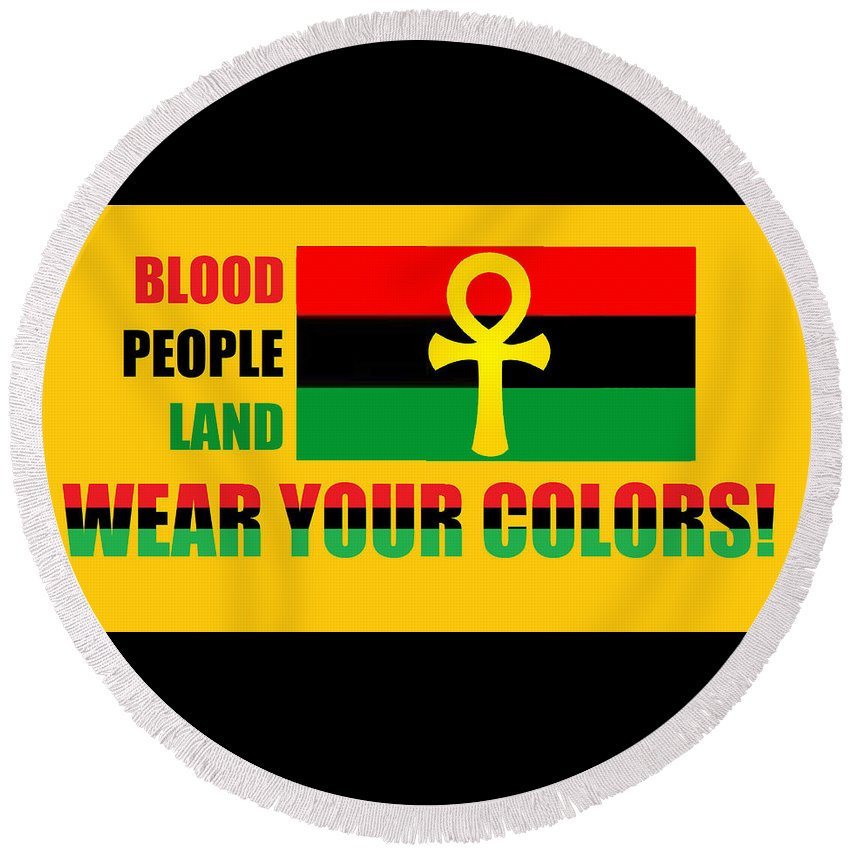 Rbg Round Beach Towel featuring the digital art Wear Red Black And Green by Adenike AmenRa