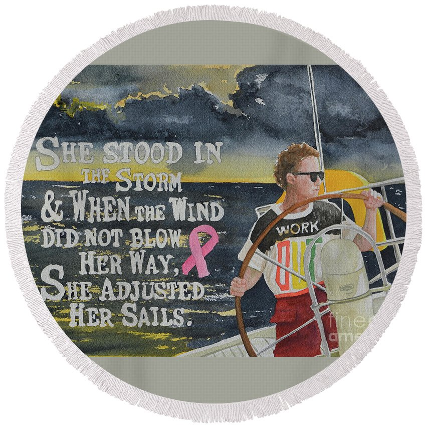 Cancer Round Beach Towel featuring the painting Weather The Storm by Gale Cochran-Smith