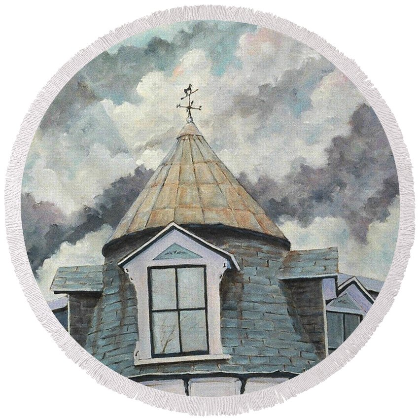 Urban Scene Round Beach Towel featuring the painting Weather Vane by Richard T Pranke