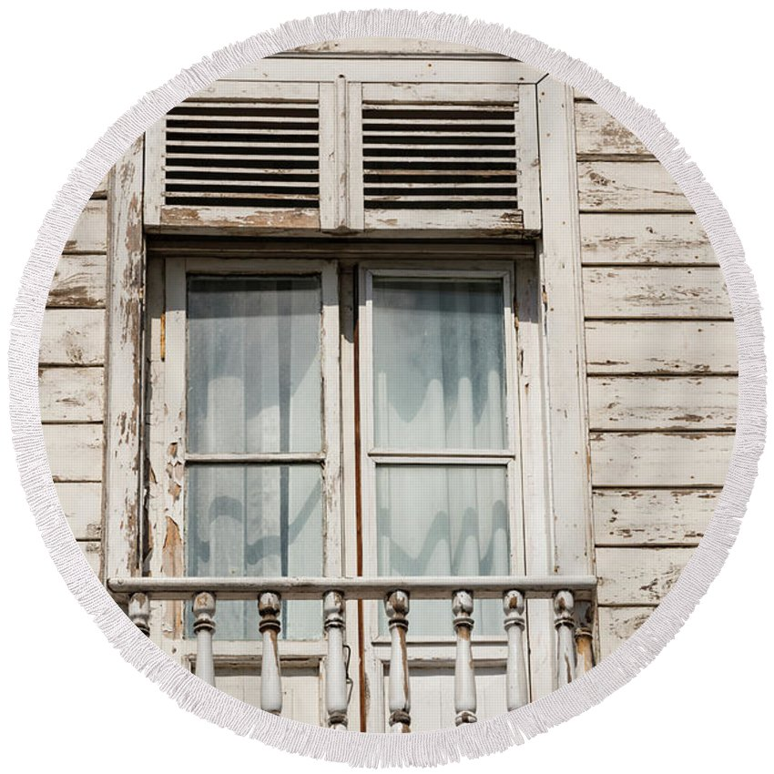 Burgazada Island Round Beach Towel featuring the photograph Weathered Window Balcony by Bob Phillips